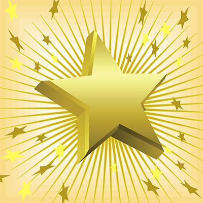 3D gold stars