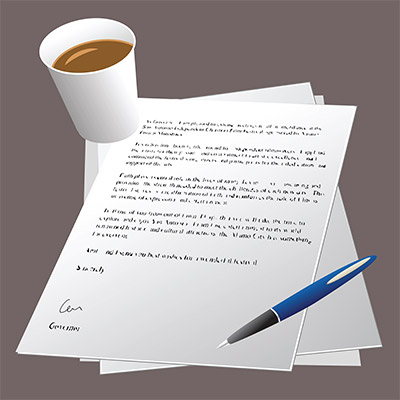 letter with coffee