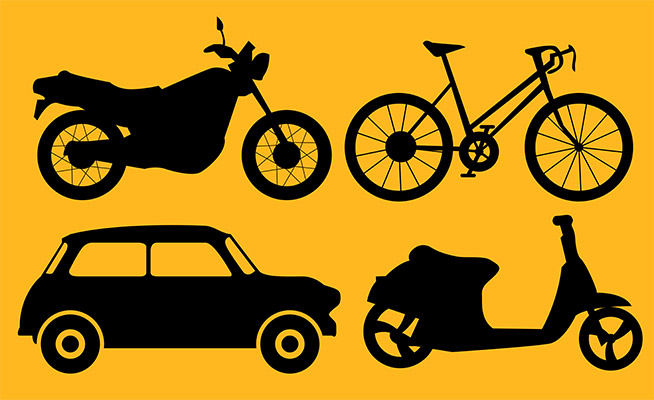 motorcycle car transport silhouette icons