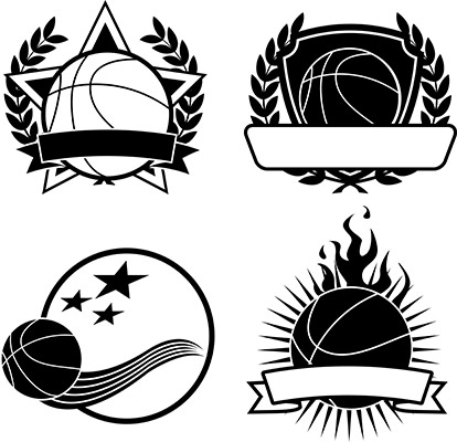 basketball emblems bw
