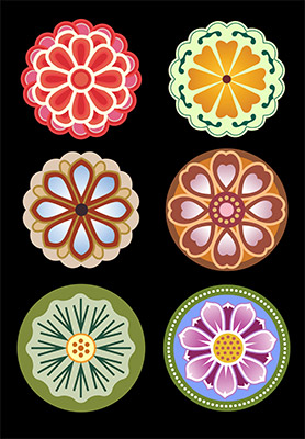 Buddhist flower col icons