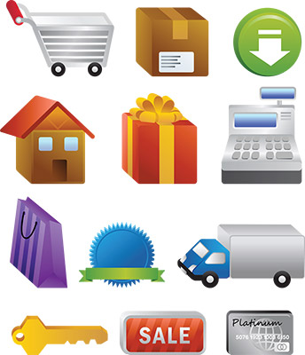 3d shopping cart icons
