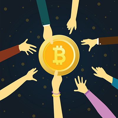 bitcoin golden symbol concept vector illustration of people funding