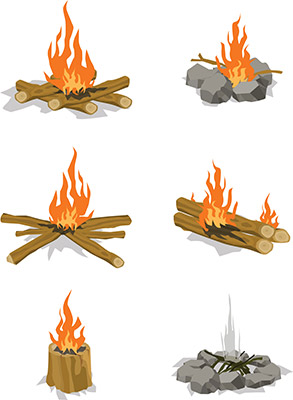 bonfires isolated vector illustration