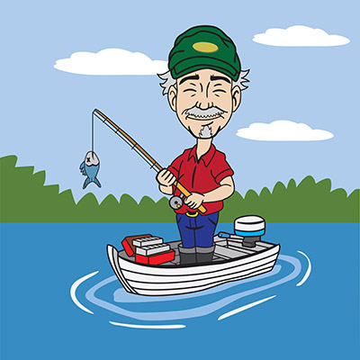 cartoon fisherman