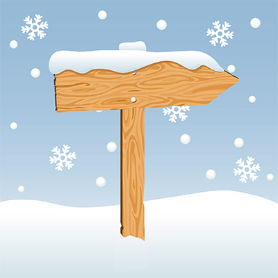direction signboard snow