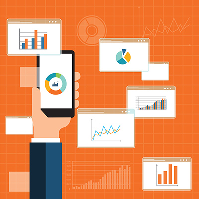 flat business analytics graph on mobile device