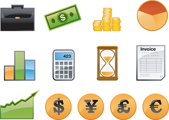 glossy finance icons