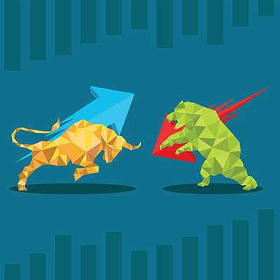 low poly trade bull and bear