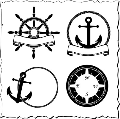 nautical emblems bw
