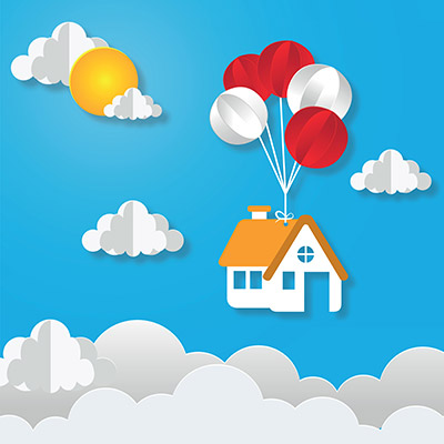 paper art of house hanging with colorful balloon business concept and asset management idea