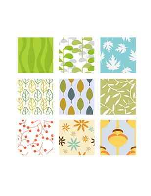 retro leaf tiles