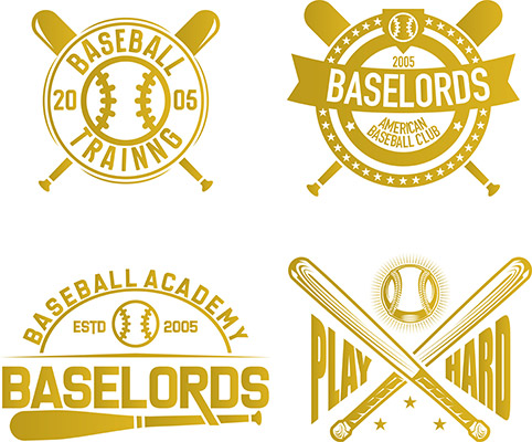set of vintage baseball emblems badges