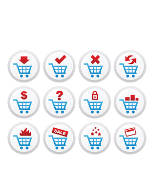 shopping icons buttons