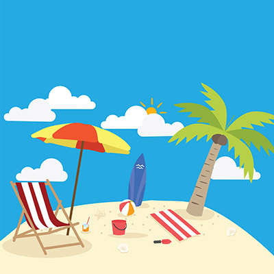 summer beach vector design in the seashore with beach umbrella