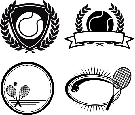 tennis emblems bw