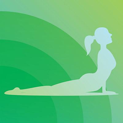 trendy stylized illustration movement yoga poses young woman practicing asanas
