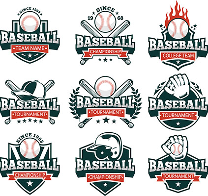 white red and blue vector baseball logos