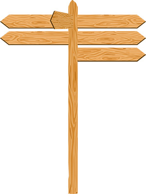 wooden direction signboard