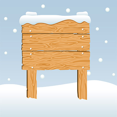 wooden signboard snow